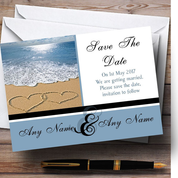 Love Heart Sand Beach Sea Personalised Wedding Save The Date Cards