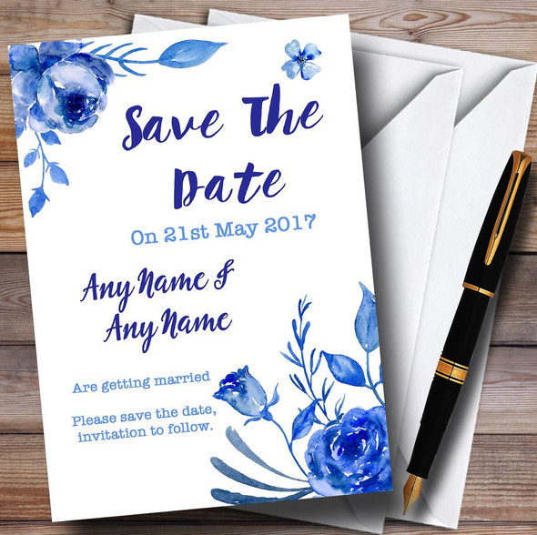 Blue & White Watercolour Floral Personalised Wedding Save The Date Cards