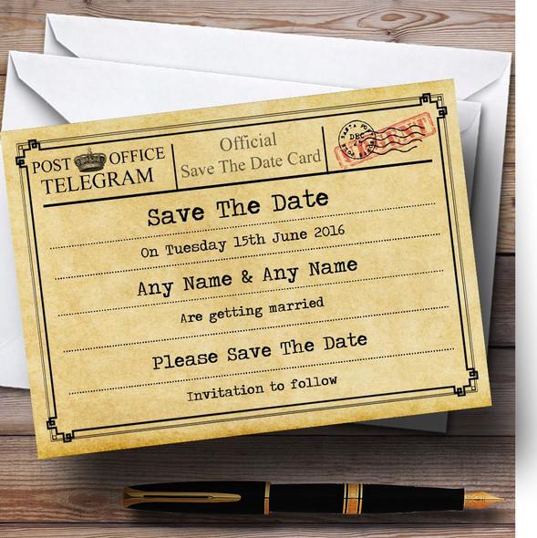 Vintage Telegram Typewritten Personalised Wedding Save The Date Cards