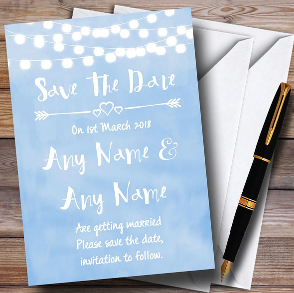 Powder Blue Lights Watercolour Personalised Wedding Save The Date Cards