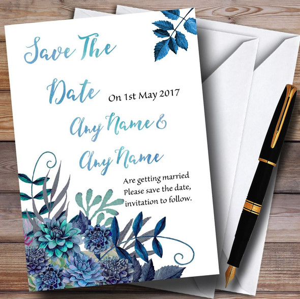 Aqua Green & Blue Watercolour Florals Personalised Wedding Save The Date Cards