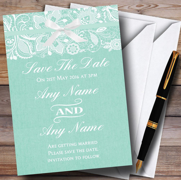 Vintage Mint Green Burlap & Lace Personalised Wedding Save The Date Cards