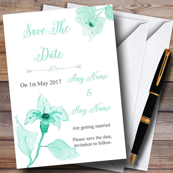 Beautiful Aqua Mint Green Watercolour Flowers Personalised Save The Date Cards