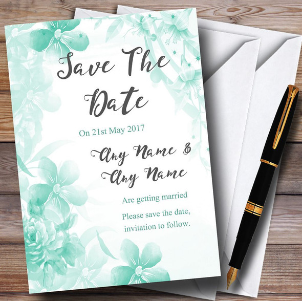 Green Watercolour Floral Personalised Wedding Save The Date Cards