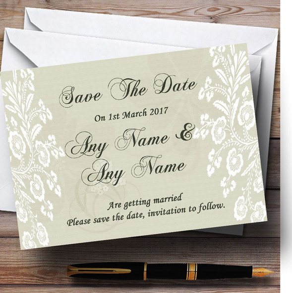 Vintage Lace Sage Green Chic Personalised Wedding Save The Date Cards