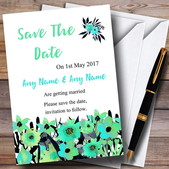 Black & Aqua Mint Green Watercolour Flowers Personalised Save The Date Cards