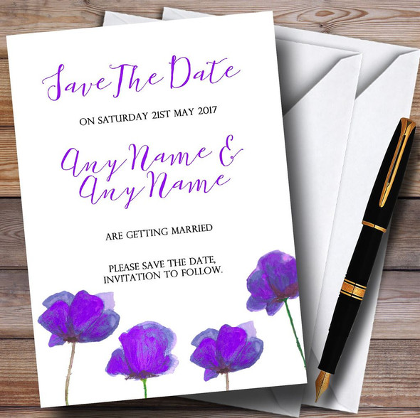 Stunning Watercolour Poppies Purple Personalised Wedding Save The Date Cards