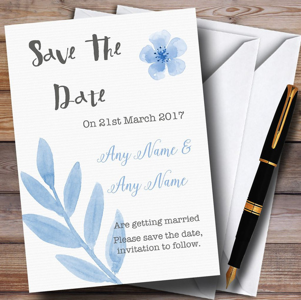 Watercolour Subtle Powder Baby Blue Personalised Wedding Save The Date Cards