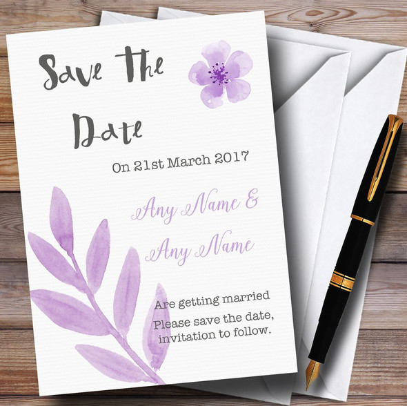 Watercolour Subtle Lilac Personalised Wedding Save The Date Cards