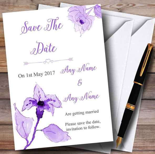 Beautiful Cadbury Purple Watercolour Flowers Personalised Save The Date Cards