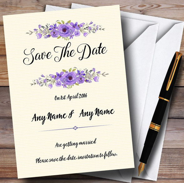 Watercolour Purple Floral Rustic Personalised Wedding Save The Date Cards