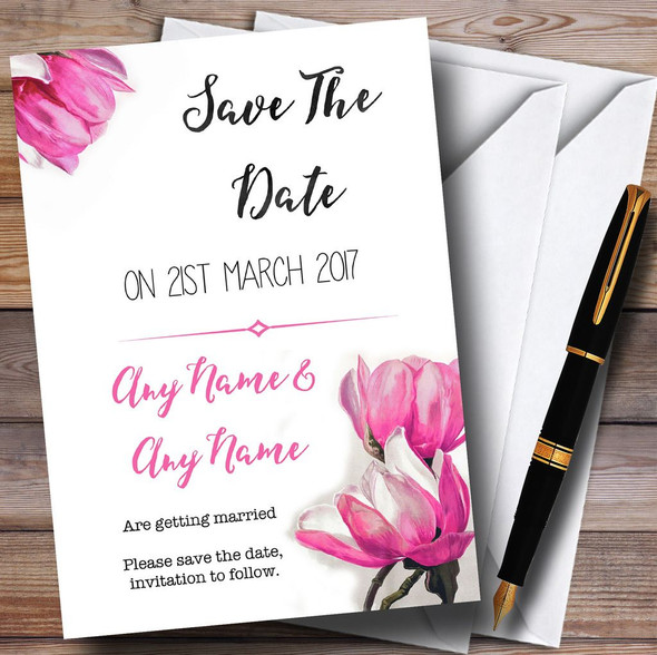 Watercolour Pink Magnolias Personalised Wedding Save The Date Cards
