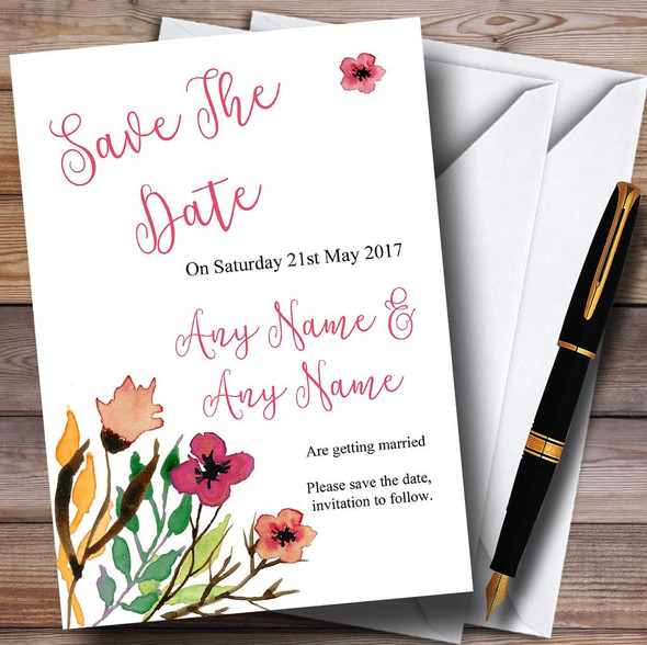 Handwriting Font Watercolour Floral Pink Personalised Save The Date Cards