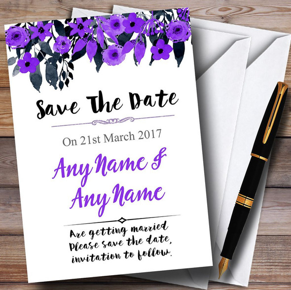 Watercolour Black & Purple Floral Header Personalised Save The Date Cards