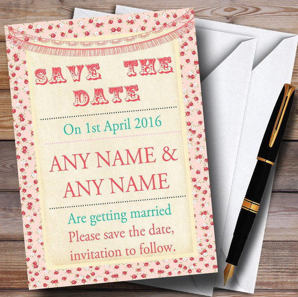 Pink Roses Shabby Chic Garland Personalised Wedding Save The Date Cards