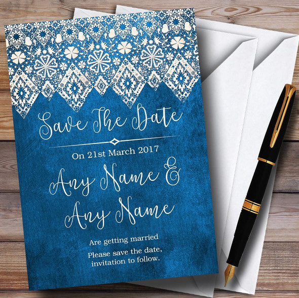 Vintage Blue Old Paper & Vintage Lace Effect Personalised Save The Date Cards