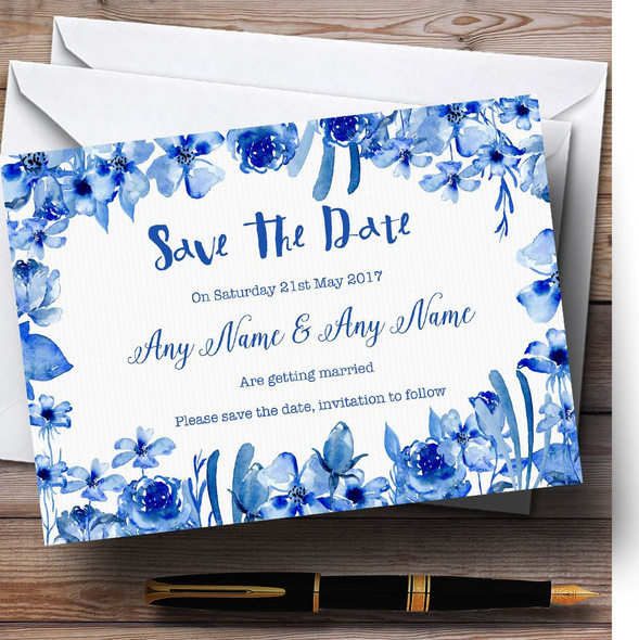 Watercolour Indigo Blue Floral Personalised Wedding Save The Date Cards