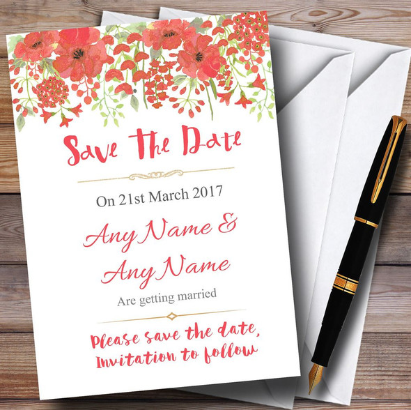 Watercolour Floral Coral Pink Personalised Wedding Save The Date Cards