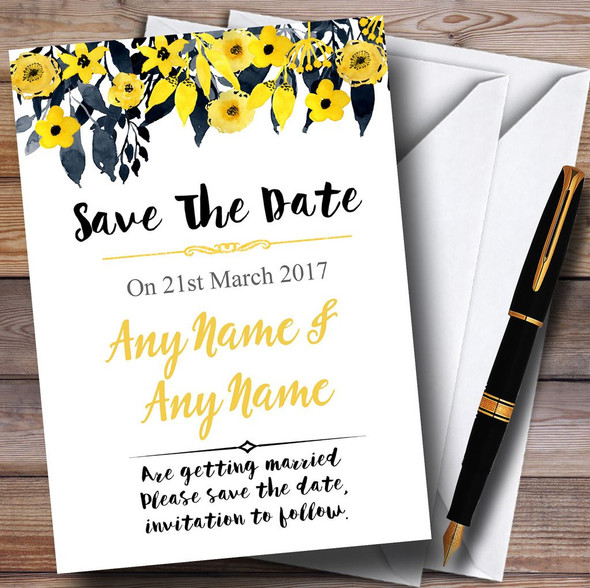 Watercolour Black & Yellow Floral Header Personalised Save The Date Cards