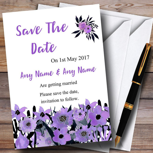 Black & Purple Watercolour Flowers Personalised Wedding Save The Date Cards