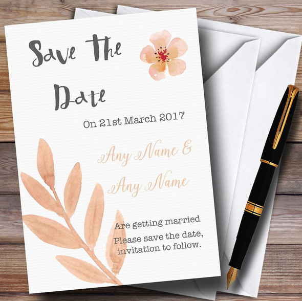 Watercolour Subtle Coral Pink Peach Personalised Wedding Save The Date Cards