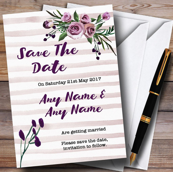 Watercolour Stripes Purple Personalised Wedding Save The Date Cards