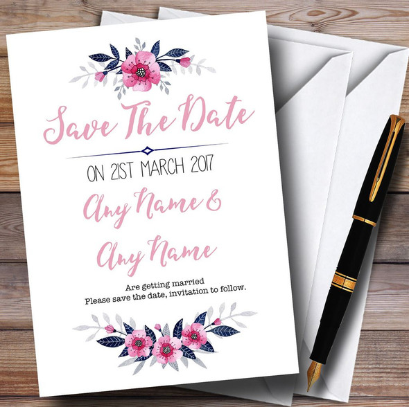 Navy Blue & Pink Subtle Floral Personalised Wedding Save The Date Cards