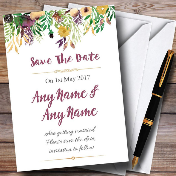 Autumn Plum Watercolour Floral Header Personalised Wedding Save The Date Cards