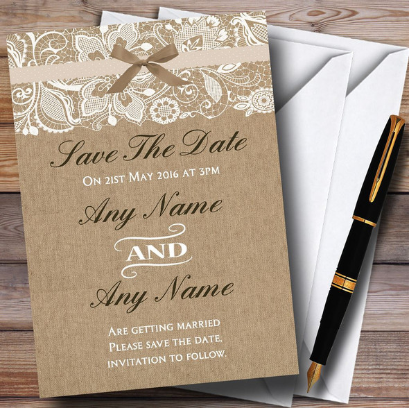 Vintage Burlap & Lace Personalised Wedding Save The Date Cards