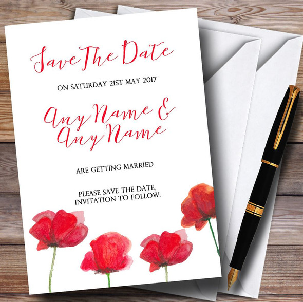 Stunning Watercolour Poppies Red Personalised Wedding Save The Date Cards