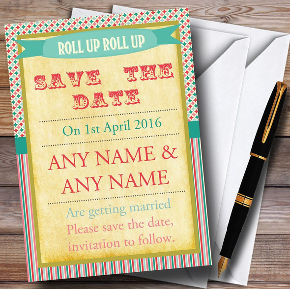 Vintage Carnival Old Style Circus Stripes Personalised Save The Date Cards