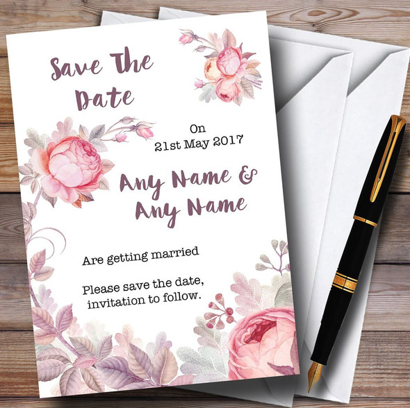 Beautiful Watercolour Floral Personalised Wedding Save The Date Cards