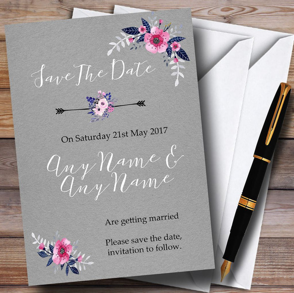 Rustic Vintage Watercolour Navy Blue & Silver Personalised Save The Date Cards