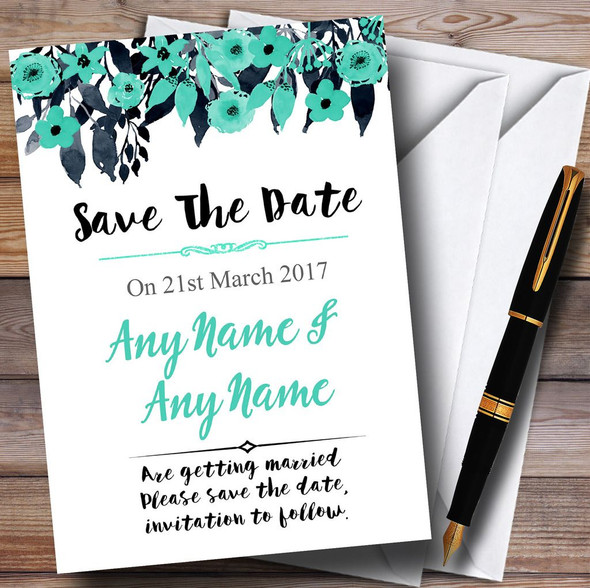 Watercolour Black & Aqua Green Floral Header Personalised Save The Date Cards