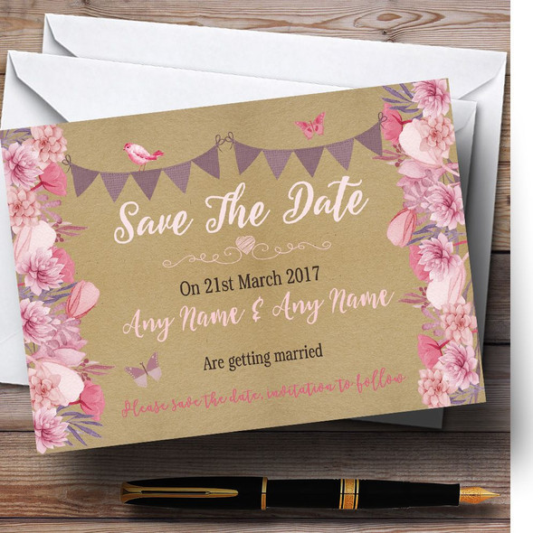 Lilac & Pink Rustic Bunting & Floral Personalised Wedding Save The Date Cards
