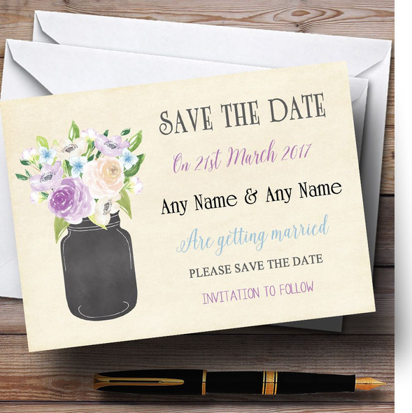 Lilac & Blue Flower Vase Vintage Personalised Wedding Save The Date Cards