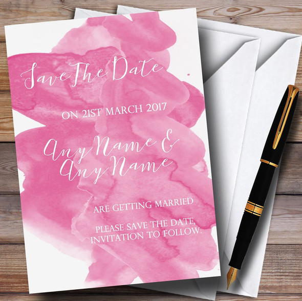 Warm Pink Watercolour Personalised Wedding Save The Date Cards