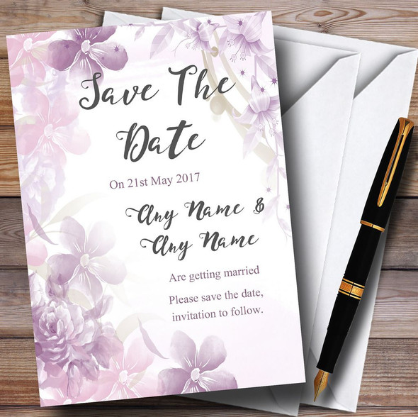 Pale Purple Watercolour Floral Personalised Wedding Save The Date Cards