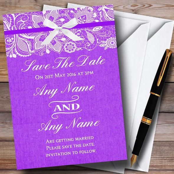 Vintage Cadbury Purple Burlap & Lace Personalised Wedding Save The Date Cards