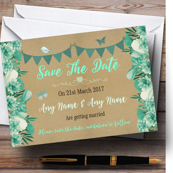 Teal & Mint Green Rustic Bunting & Floral Personalised Save The Date Cards