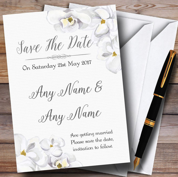 Stunning White Watercolour Magnolias Personalised Wedding Save The Date Cards