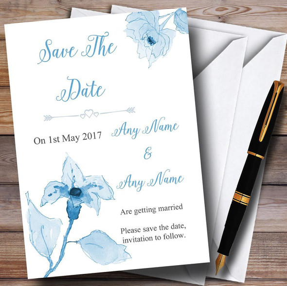 Beautiful Powder Baby Blue Watercolour Flowers Personalised Save The Date Cards