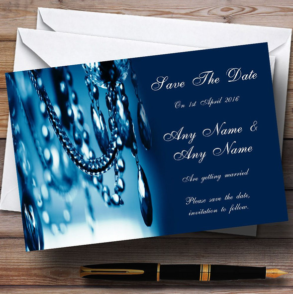 Blue Crystal Chandelier Personalised Wedding Save The Date Cards