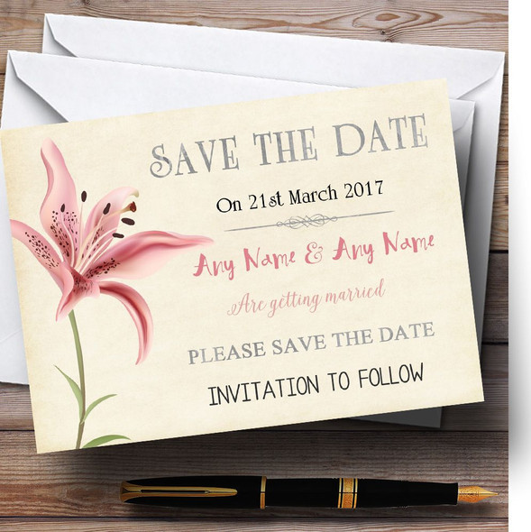 Coral Pink Lily Vintage Personalised Wedding Save The Date Cards