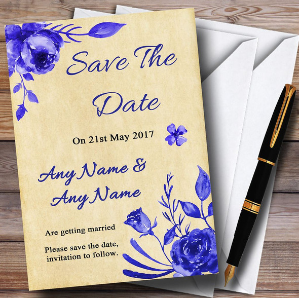 Vintage Blue & White Watercolour Floral Personalised Wedding Save The Date Cards