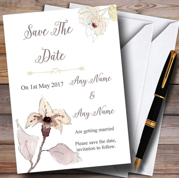 Beautiful Peach Watercolour Flowers Personalised Wedding Save The Date Cards