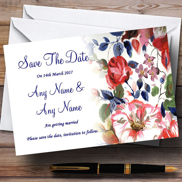 Pretty Blue Vintage Floral Personalised Wedding Save The Date Cards