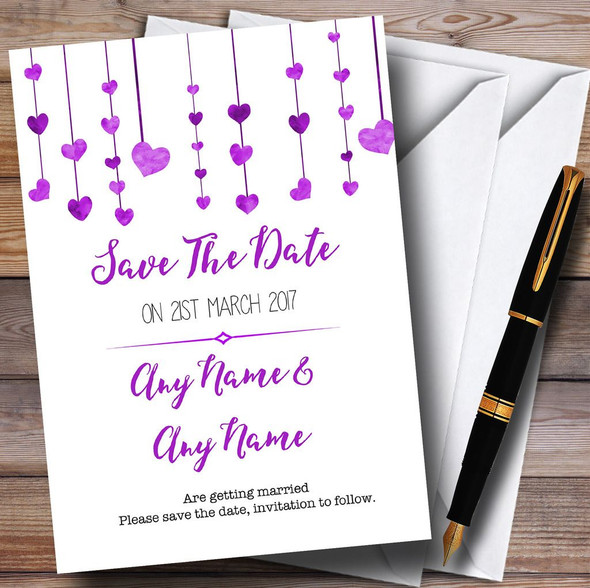 Purple Watercolour Heart Drop Personalised Wedding Save The Date Cards