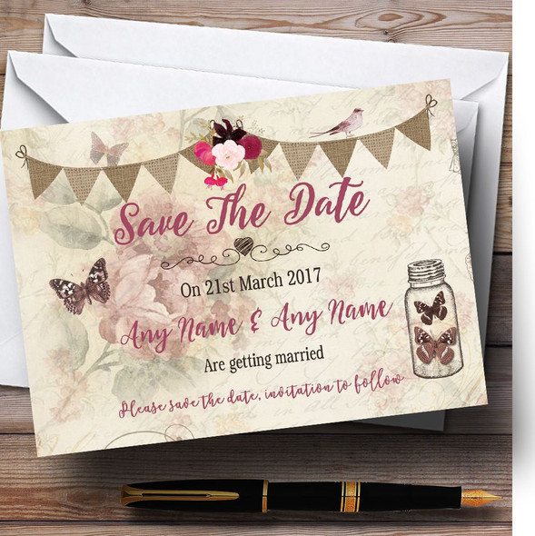Rustic Parisian Style Vintage Personalised Wedding Save The Date Cards