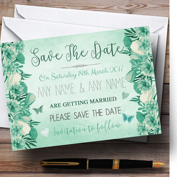 Pale Teal Mint Green Vintage Watercolour Floral Personalised Save The Date Cards